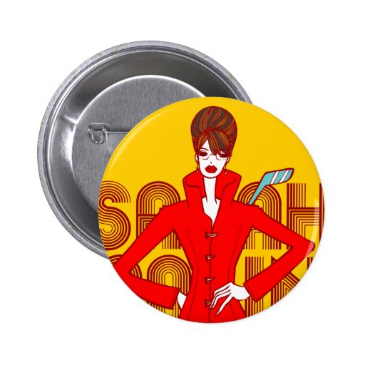 Sarah Palin Fashion Style Doodle Art Button