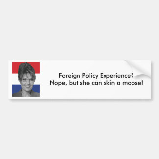 Sarah Palin, Foreign Policy Experience? Bumper Sticker