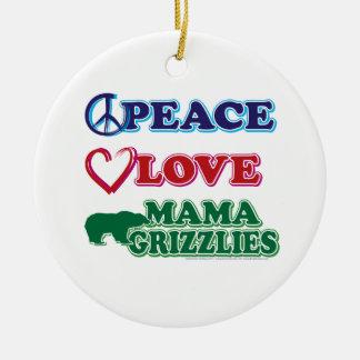 Sarah Palin/Peace Love Mama Grizzlies Round Ceramic Decoration