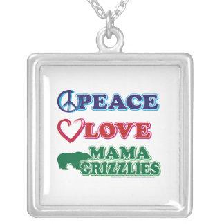 Sarah Palin/Peace Love Mama Grizzlies Square Pendant Necklace