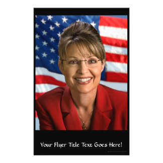 Sarah Palin Picture with Waving Flag Flyer