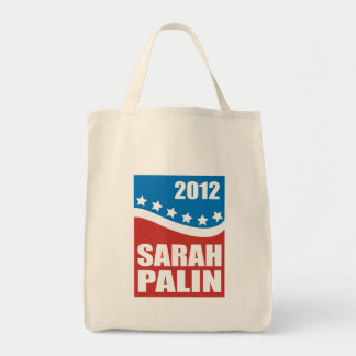 Sarah Palin Red White Blue Grocery Tote Bag