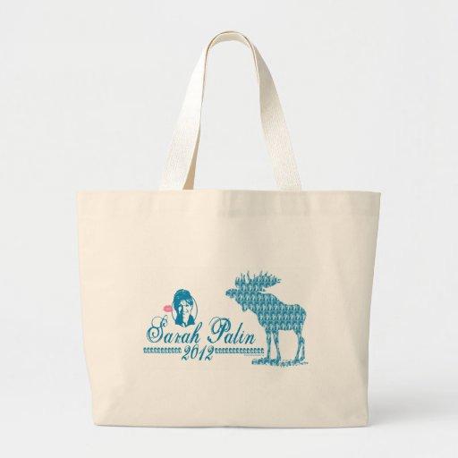 Sarah Palin with Moose Art Tote Bags