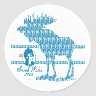 Sarah Palin with Moose Art Classic Round Sticker
