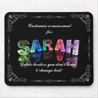 Sarah - The Name Sarah in 3D Lights (Photograph) Mousemats