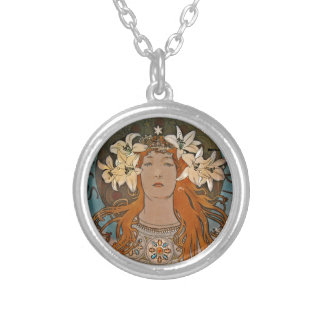 Sarah with White Lilies Round Pendant Necklace