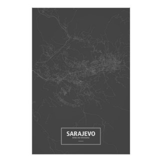 Sarajevo, Bosnia and Herzegovina (white on black) Poster