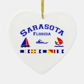 Sarasota FL Signal Flags Ceramic Heart Decoration