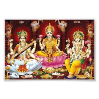 """Saraswati, Lakshmi, & Ganesha Print (6"""" x 4"""")"""
