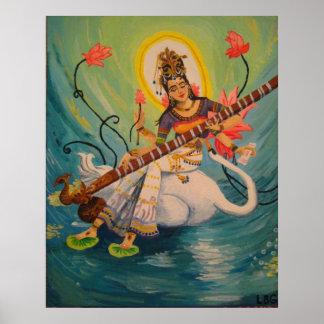 Saraswati Painting Poster