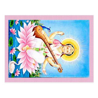 Saraswati Sitting on Pink Lotus Postcard