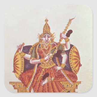 Saratheswathee, hindu goddess of learning square sticker