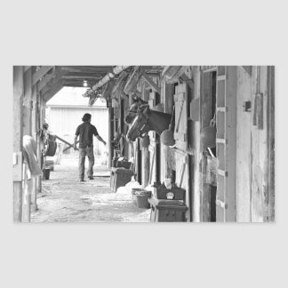 Saratoga Shedrow at Horse Haven Rectangle Sticker