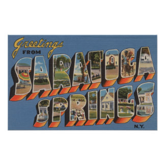 Saratoga Springs, New York - Large Letter Scenes Poster