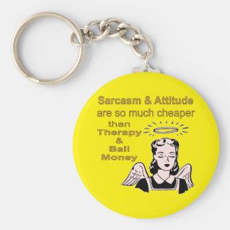 Sarcasm & Attitude Cheaper Than Therapy & Bail Basic Round Button Key Ring