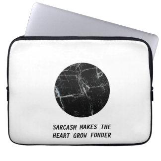 SARCASM MAKES THE HEART GROW FONDER Marble Minimal Laptop Sleeve