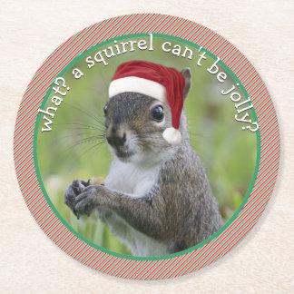 Sarcastic Santa Squirrel • Hit of Holiday Parties Round Paper Coaster