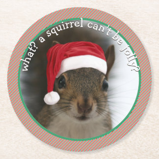 Sarcastic Santa Squirrel™ Hit of Holiday Parties Round Paper Coaster