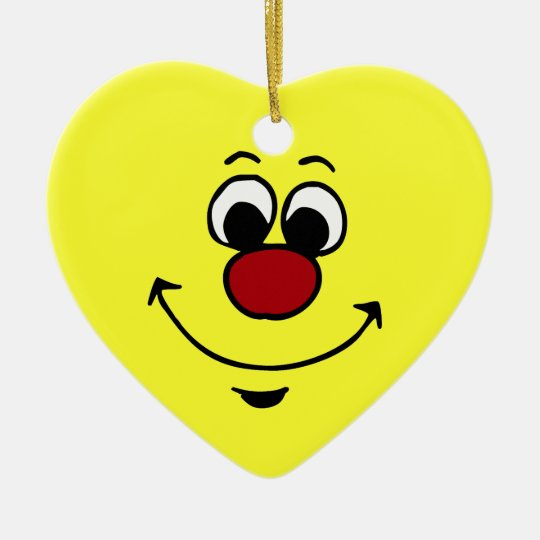Sarcastic Smiley Face Grumpey Ceramic Heart Decoration