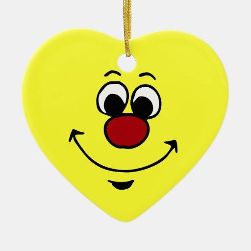 Sarcastic Smiley Face Grumpey Ceramic Heart Decoration