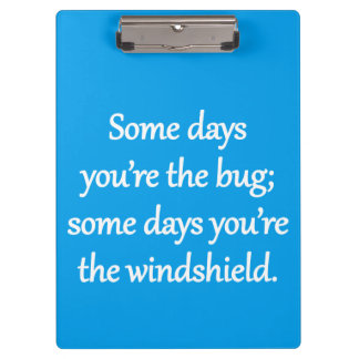 Sarcastic Zen Phrase - The Bug And The Windshield Clipboard