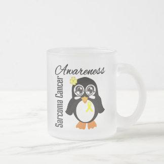 Sarcoma Cancer Awareness Penguin 10 Oz Frosted Glass Coffee Mug
