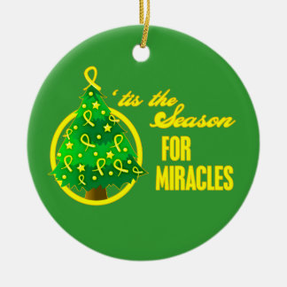 Sarcoma Cancer Christmas Miracles Round Ceramic Decoration