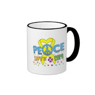 Sarcoma Cancer Groovy Peace Love Cure Ringer Mug