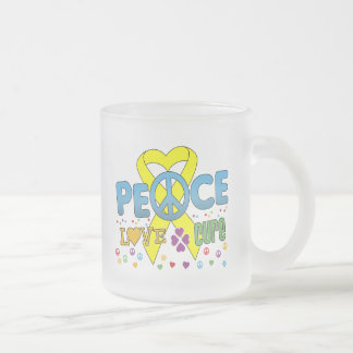 Sarcoma Cancer Groovy Peace Love Cure Frosted Glass Mug