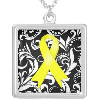 Sarcoma Cancer Ribbon Deco Floral Noir Square Pendant Necklace