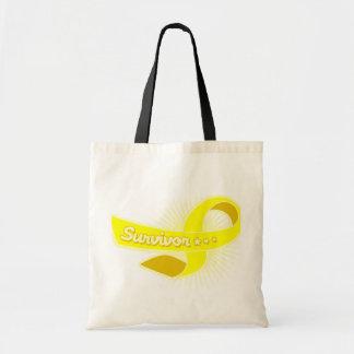 Sarcoma Cancer Survivor Ribbon Tote Bags