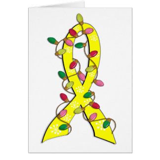 Sarcoma Christmas Lights Ribbon Card