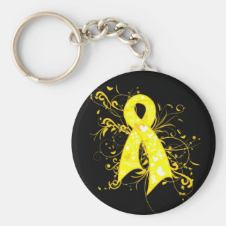 Sarcoma Floral Swirls Ribbon Basic Round Button Key Ring