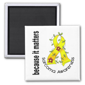 SARCOMA Flower Ribbon 3 Square Magnet
