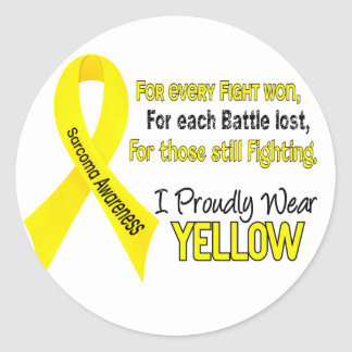 Sarcoma I Proudly Wear Yellow 1 Round Sticker