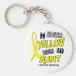 Sarcoma I WEAR YELLOW FOR MY AUNT 37 Basic Round Button Key Ring