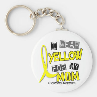 Sarcoma I WEAR YELLOW FOR MY MOM 37 Basic Round Button Key Ring