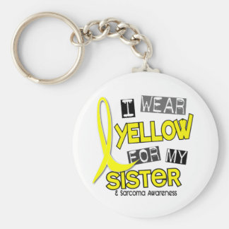 Sarcoma I WEAR YELLOW FOR MY SISTER 37 Basic Round Button Key Ring