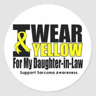 Sarcoma I Wear Yellow Ribbon Daughter-in-Law Round Stickers