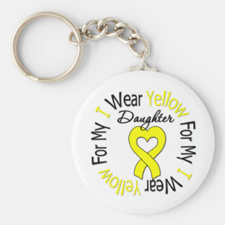 Sarcoma I Wear Yellow Ribbon For My Daughter Basic Round Button Key Ring