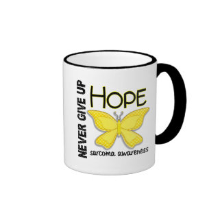 Sarcoma Never Give Up Hope Butterfly 4.1 Ringer Mug