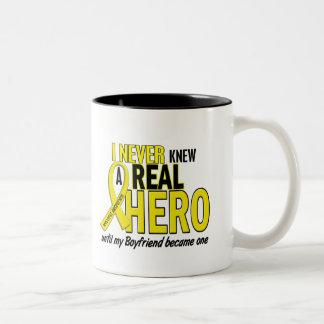 Sarcoma NEVER KNEW A HERO 2 Boyfriend Two-Tone Mug