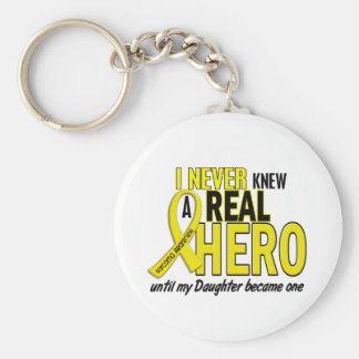 Sarcoma NEVER KNEW A HERO 2 Daughter Basic Round Button Key Ring