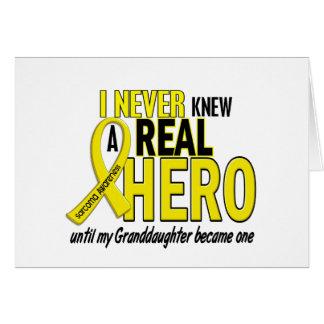 Sarcoma NEVER KNEW A HERO 2 Granddaughter Card