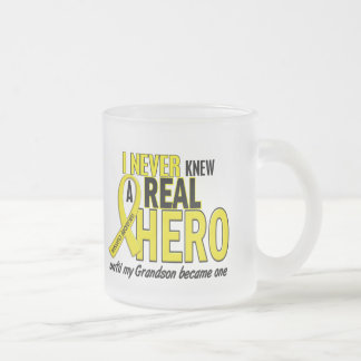 Sarcoma NEVER KNEW A HERO 2 Grandson Frosted Glass Mug
