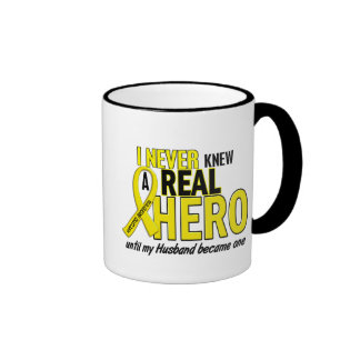 Sarcoma NEVER KNEW A HERO 2 Husband Ringer Mug