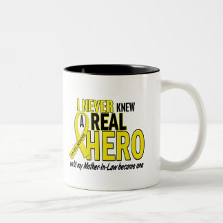 Sarcoma NEVER KNEW A HERO 2 Mother-In-Law Two-Tone Coffee Mug