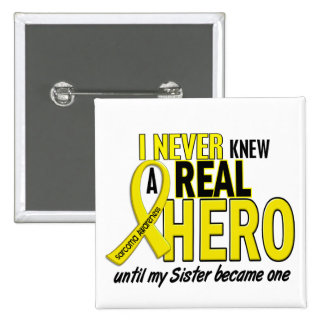 Sarcoma NEVER KNEW A HERO 2 Sister 15 Cm Square Badge