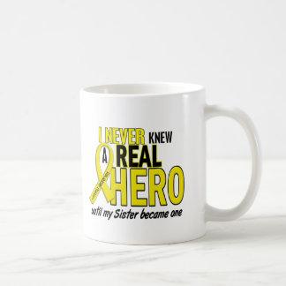 Sarcoma NEVER KNEW A HERO 2 Sister Basic White Mug