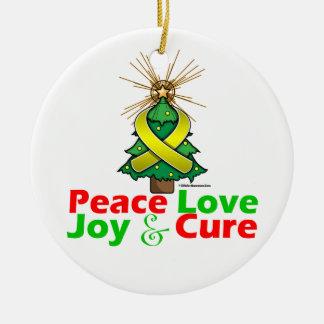 Sarcoma Peace Love Joy Cure Round Ceramic Decoration